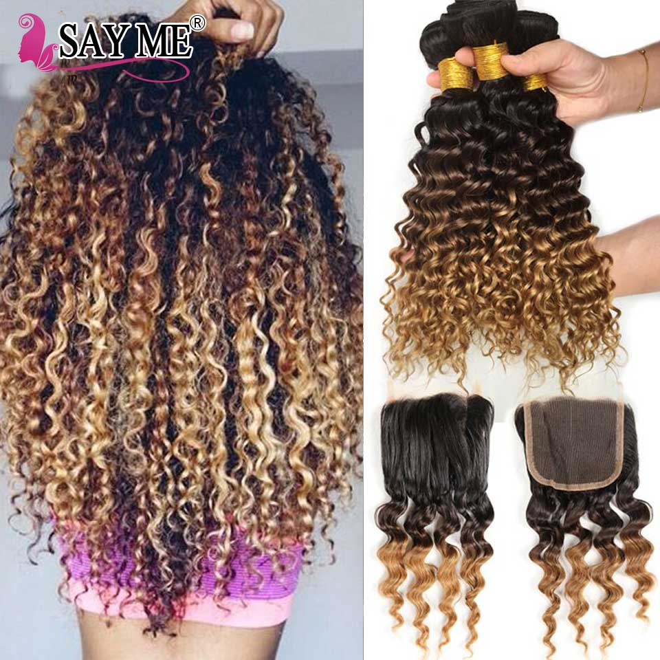 3 Malaysian Hair Bundles With Closure Ombre Blonde Deep Wave Bundles With Closure 1B 4 27