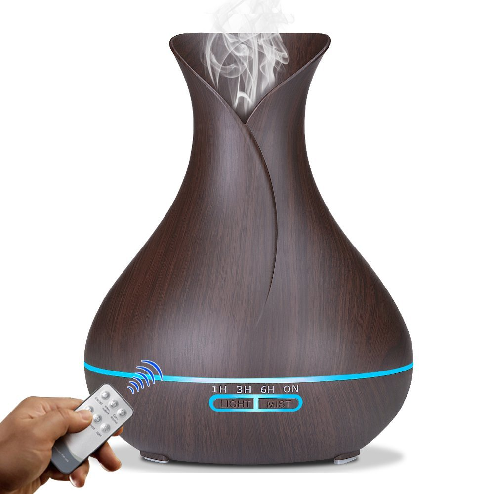 Aromaterapi difüzör ultrasonik serin sis ahşap tahıl uçucu yağ difüzör hava  temizleyici vazo Aroma nemlendirici uzaktan kumanda|Humidifiers