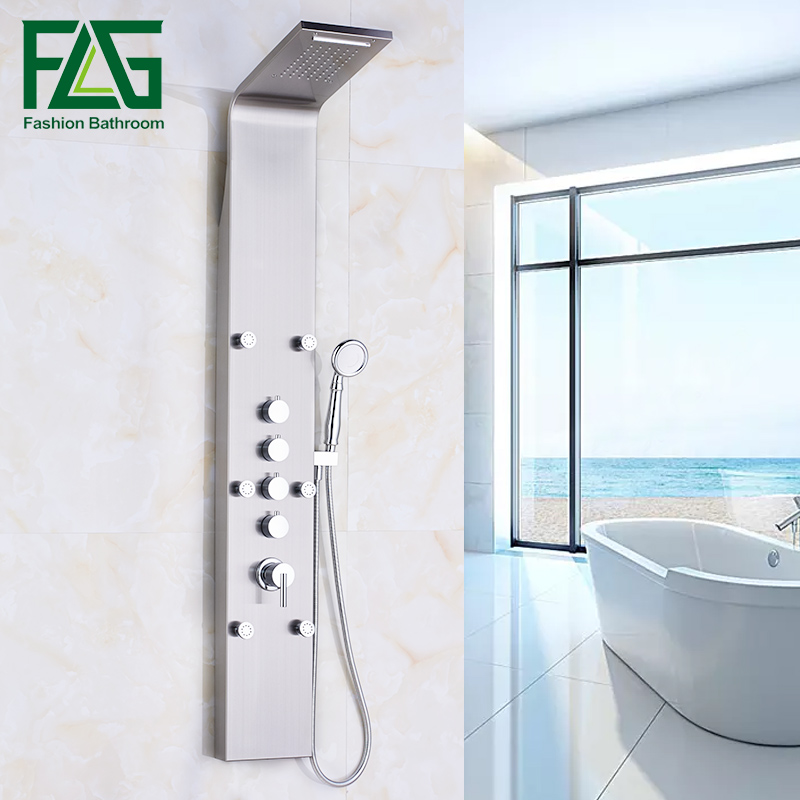 FLG Waterfall and Rain Shower Panel 6pc Massage Jets Brushed Nickel Shower Head With Bathroom Shower Set Faucet Wall Mounted Tap