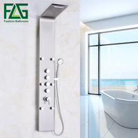 Factory Direct Sale Rain Waterfall Shower Panel 6pc Massage Jets Nickel Brushed With Hand Shower Bathroom