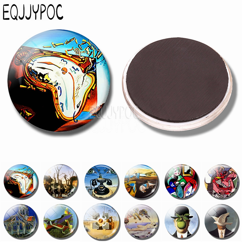 30 MM Refrigerator Magnet Glass Salvador Dali Soft Watch At The Moment Of Explosion Fridge Magnets Art Picture Clock Home Decor