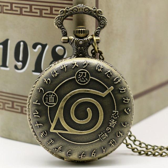 Quartz Pocket Watch Japan Cartoon Naruto Bronze Fob Watches Pendant Men Women Ca