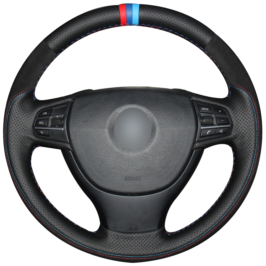 Black Natural Leather Black Suede Red Blue Light Blue Marker Steering Wheel Cover for BMW F10