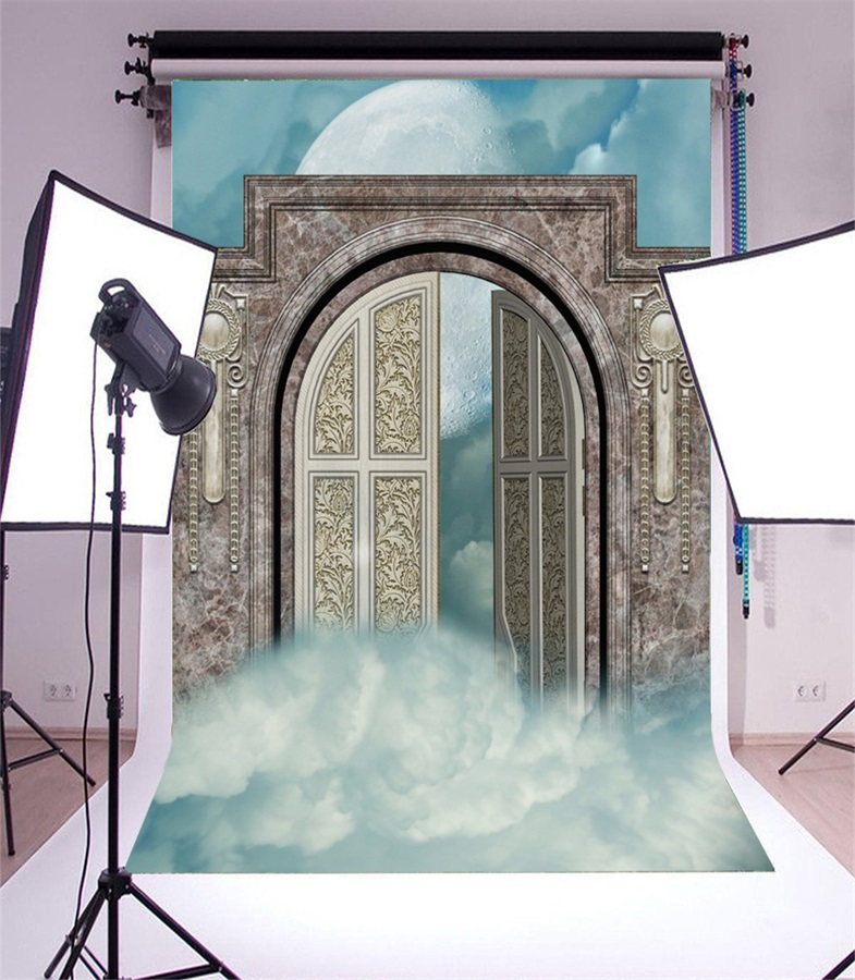 Laeacco Moon Cloudy Wonderland Open Gate Scene Photography Backdrops Vinyl Photo Backdrops Custom Backgrounds For Photo Studio