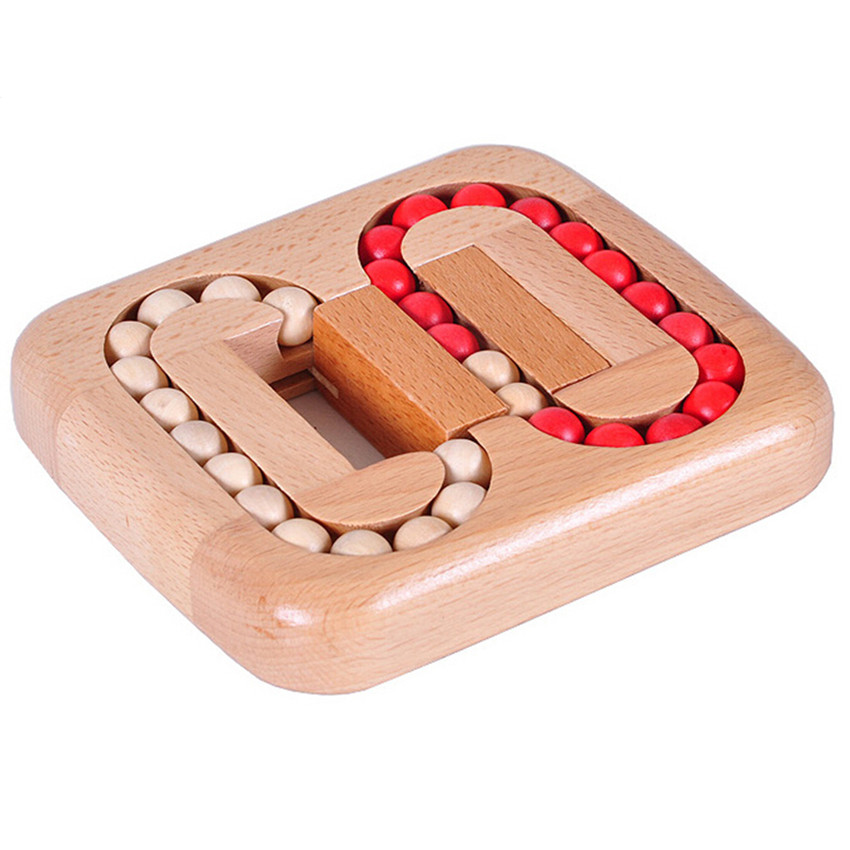 Klasik IQ Wood Game Mind Teaser Teaser Beads Wooden Puzzle for Adults Kids Gifts, Creative 3D Puzzle Board Games for Children