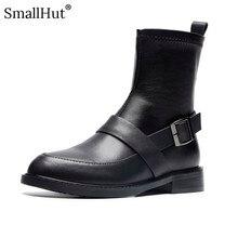 купить Low Heel Boots Women Autumn Genuine Cow Leather Ladies Square Heels E096 Fashion Woman Black Round Toe Metal Decoration Boots по цене 2629.28 рублей