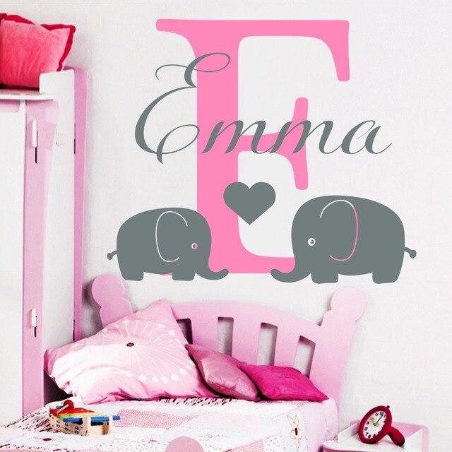Name wall decals elephant decal heart vinyl nursery girl room decor custom name decal sticker interior
