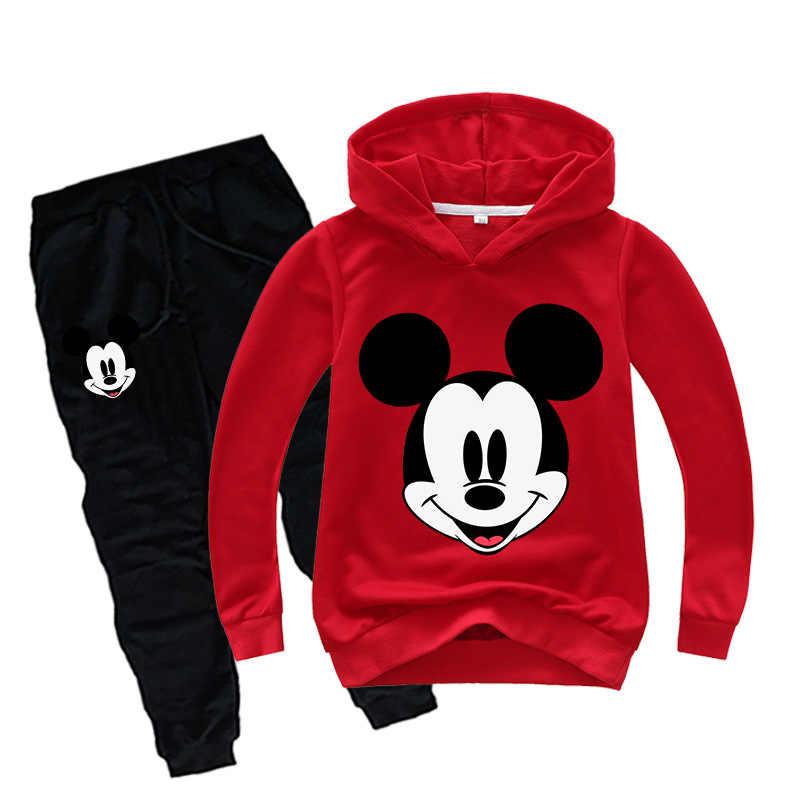 2019 เสื้อผ้าเด็กใหม่ชุดฤดูใบไม้ผลิฤดูใบไม้ร่วงเด็กเสื้อผ้าชุด Mickey Minnie การ์ตูนแฟชั่น Hoodie + กางเกง 2 ชุด Pcs