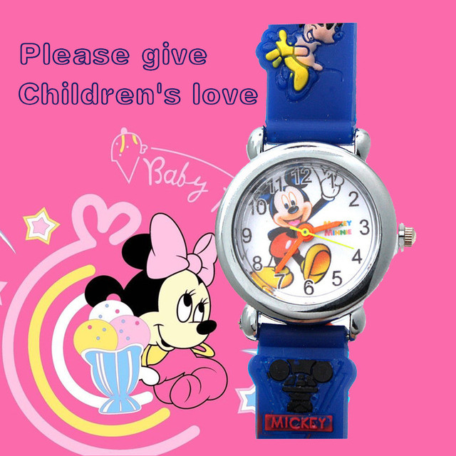 3D Anime Mickey Kids Watches Silicone Fashion Waterproof Children Quartz Watch G