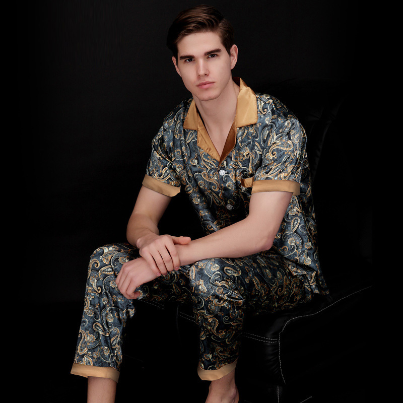 2017 Man's Casual Loose Silk Pamajas With Middle Sleeve Regular Sleeve And V Neck,Comfortable Summer Pajamas For Men TZ021 SY018