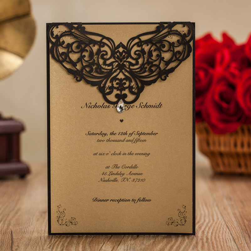 Wedding Invitatons With Rhinestone Black Laser Cut Invitation Cards For Birthday Party Favors Envelope Stock