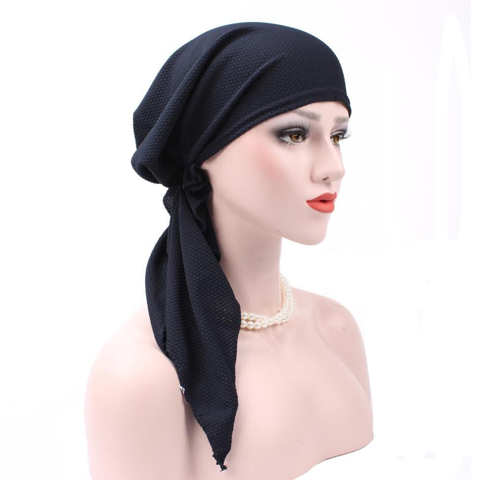 Bandanas Women Ruffle Headscarf Chemo Hat Turban Head Scarves Pre-Tied   Headwear   Bandana Tichel for Cancer Ladies Turbante