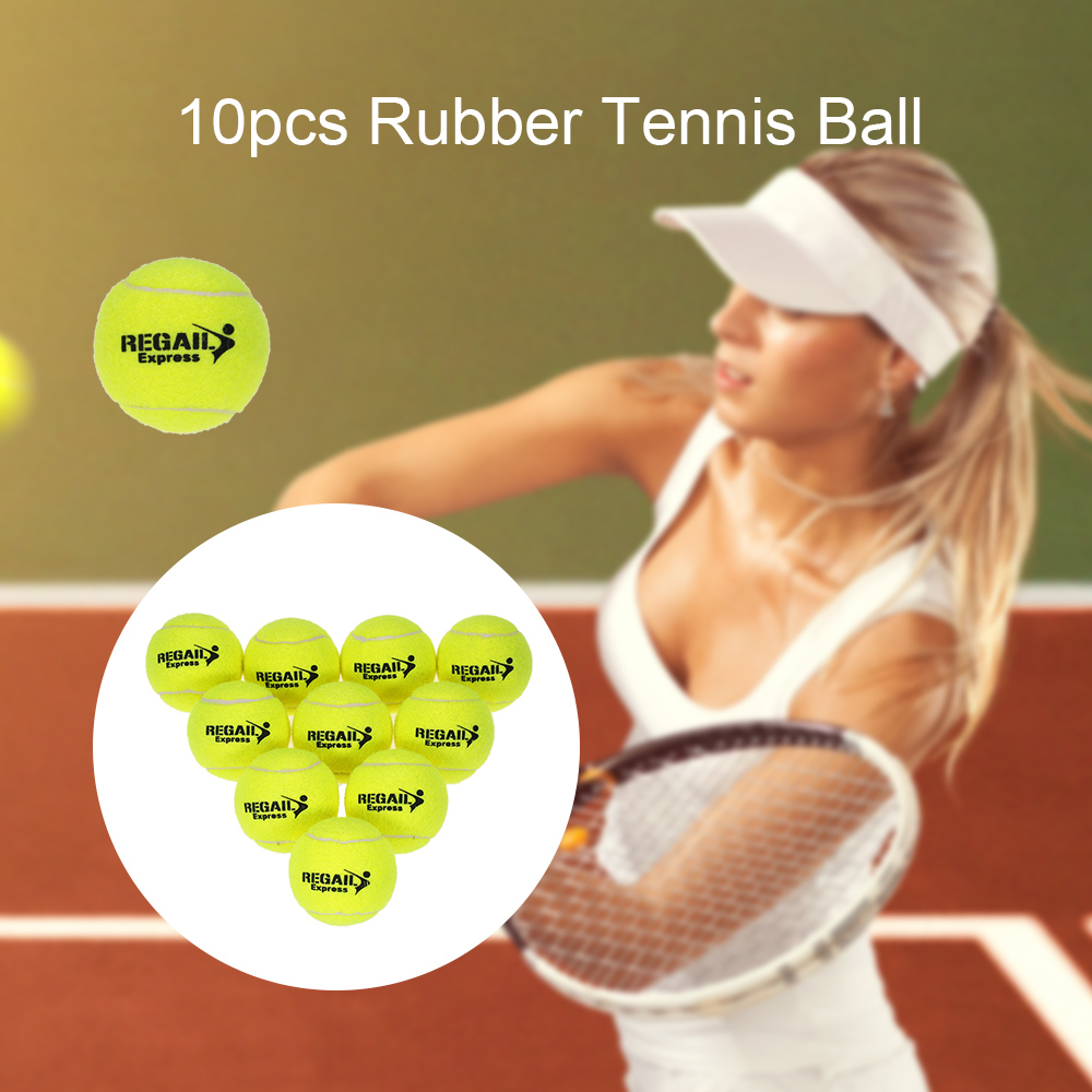 REGAIL 10pcs/bag Tennis Training Ball Practice High Resilience Training Durable Rubber Bounce Beginners Competition Tennis Ball