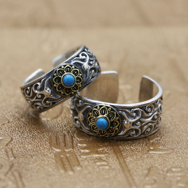 Vintage Pure Thai Silver Vine Band Cuff Ring For Men Women 100% Real Sterling Silver 925 Set Natural Blue Stone Couple Ring Gift