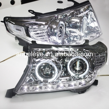 2008-2011 Year For Land Cruiser for FJ200 with Angel Eyes LED Head Lamp Chrome housing LF