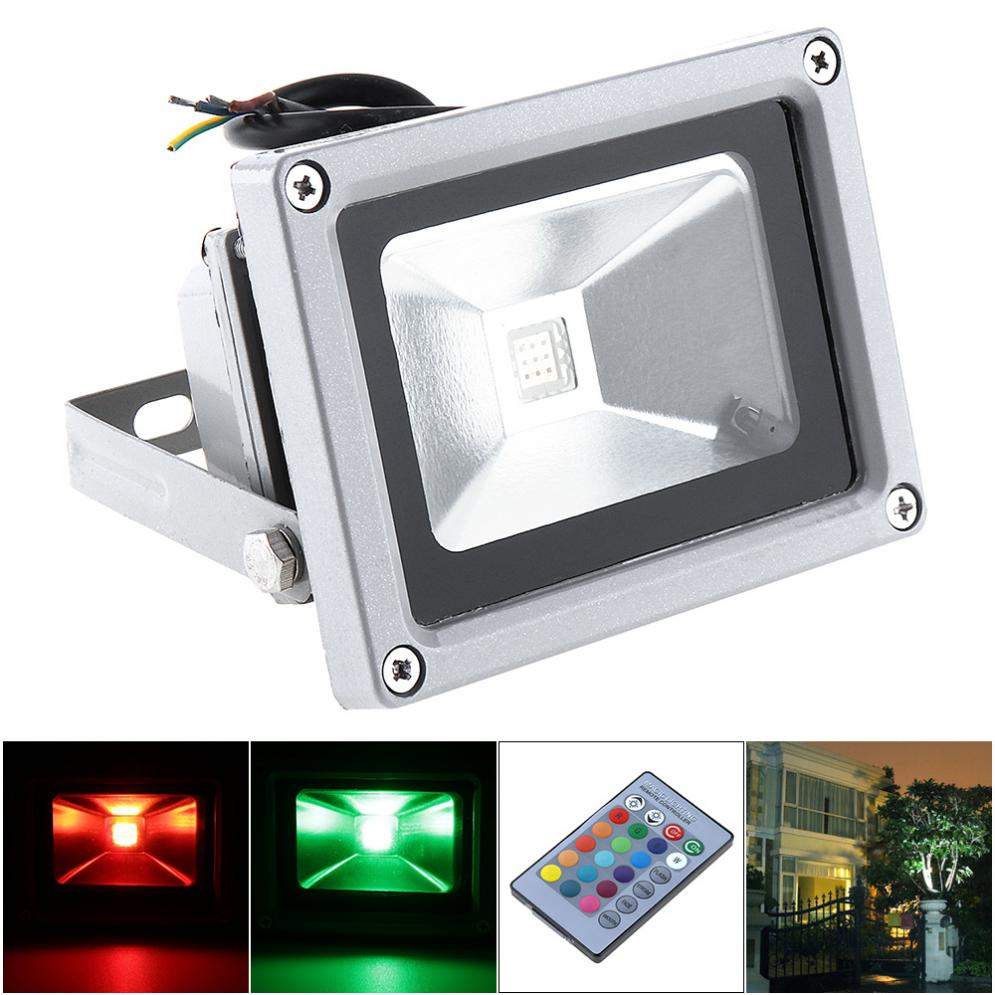 New Colorful 10W 1000LM Security Lamp Waterproof IP65 LED RGB Floodlight with Remote Control Support 90-240V for Garden/ Outdoor