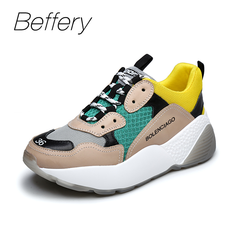 Beffery 2018 New Women Sneakers Fashion Flat Platform Shoes For Women Lace-up Casual Shoes girl Sneakers A1A8133-6 instantarts casual teen girls flats shoes appaloosa horse flower pattern women lace up sneakers fashion comfort mesh flat shoes