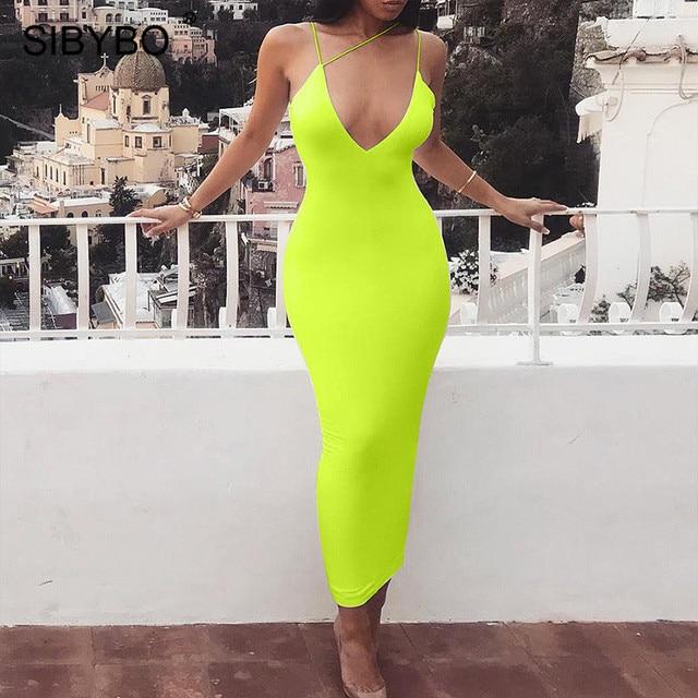 Sibybo Spaghetti Strap Backless Sexy Bodycon Dress Sleeveless V-Neck Summer Long Dress Backless Beach Casual Women Dress
