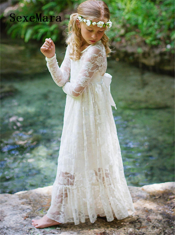 Ivory White Lace A Line Flower Girls Dresses for Wedding Party Long Sleeves O Neck Girls Birthday Dress Christmas Pageant Gown цена