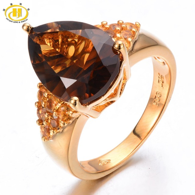 HUTANG 5.05ct Natural Smoky Quartz & Citrine Solid 925 Sterling Silver Cocktail Ring Gemstone Fine Jewelry Women's New Arrival
