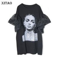 XITAO Mesh Sequin T Shirt Women Clothes 2019 O Neck Print Character Pattern Long Wild Joker Pullover Ruffle Korea WBB4207
