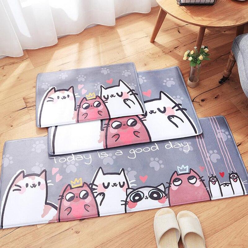 New Doormats Animal Cute Cats Printed Bathroom Kitchen
