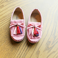 Kids shoes girls vestidos de fiesta de primavera con flat shoes casual zapatillas individuales princesa de la borla de la danza del color del caramelo niños shoes