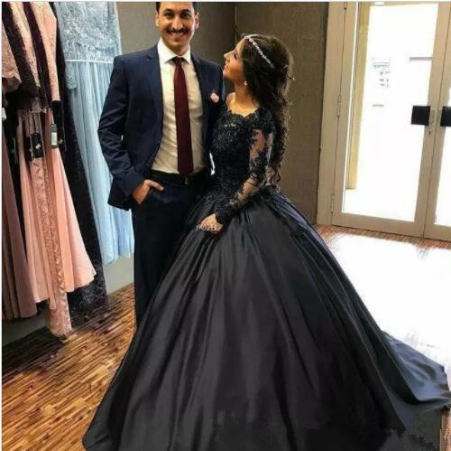 ED0424 Exquisite Navy Blue Black Ball Gown Off Shoulder Long Sleeves Beaded Appliques Gowns   Evening     Dress   Prom   Dresses