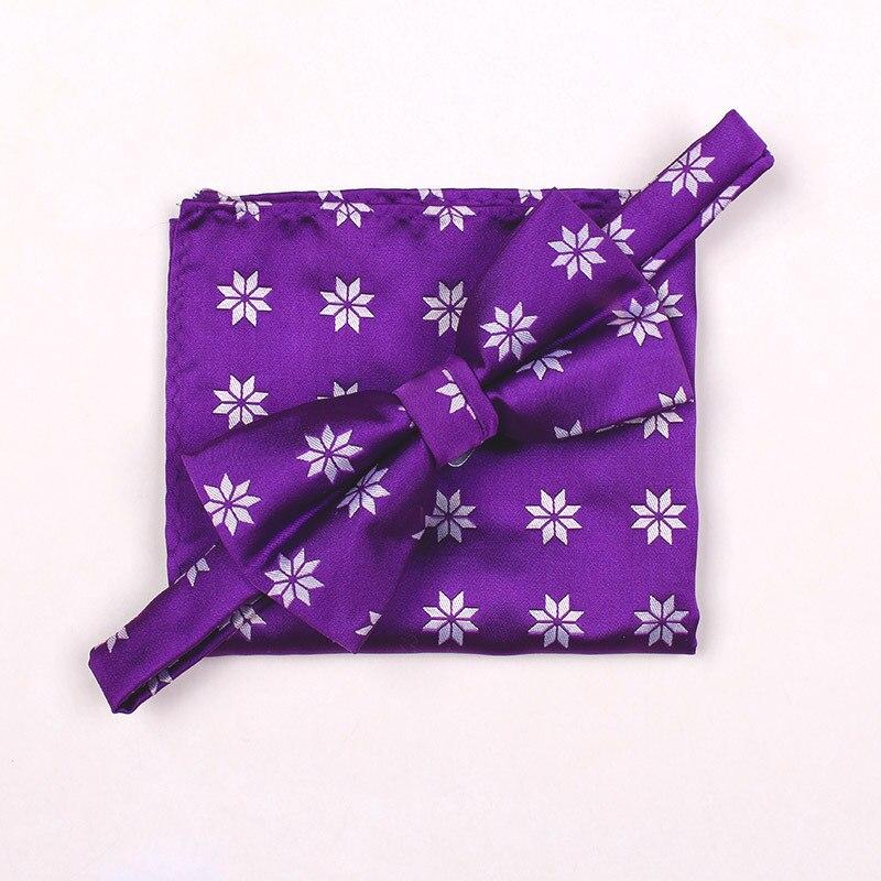Christmas Gifts Purple Bowties Set for Men Fashion Theme Snowflake Stropdas Accessories Goom Pajaritas handkerchief