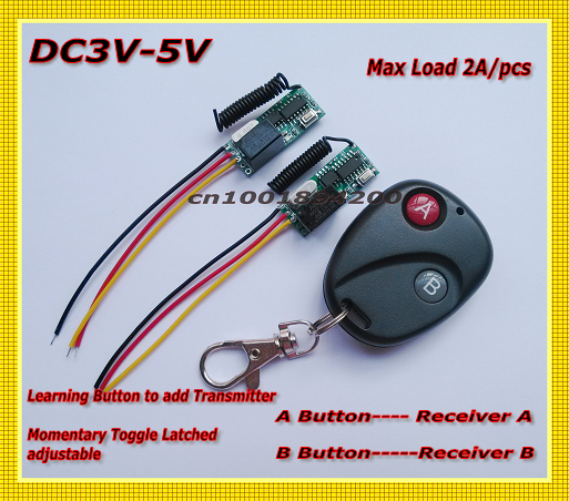 DC3V-DC5V Relay Mini 2Receiver Transmitter RF Remote Control Switch System 2A Relay Switch Learning Code Momentary Toggle Adjust mini remote control switch system micro dc3v 5v 2a relay 2 receiver transmitter momentary toggle latched learn 315 433