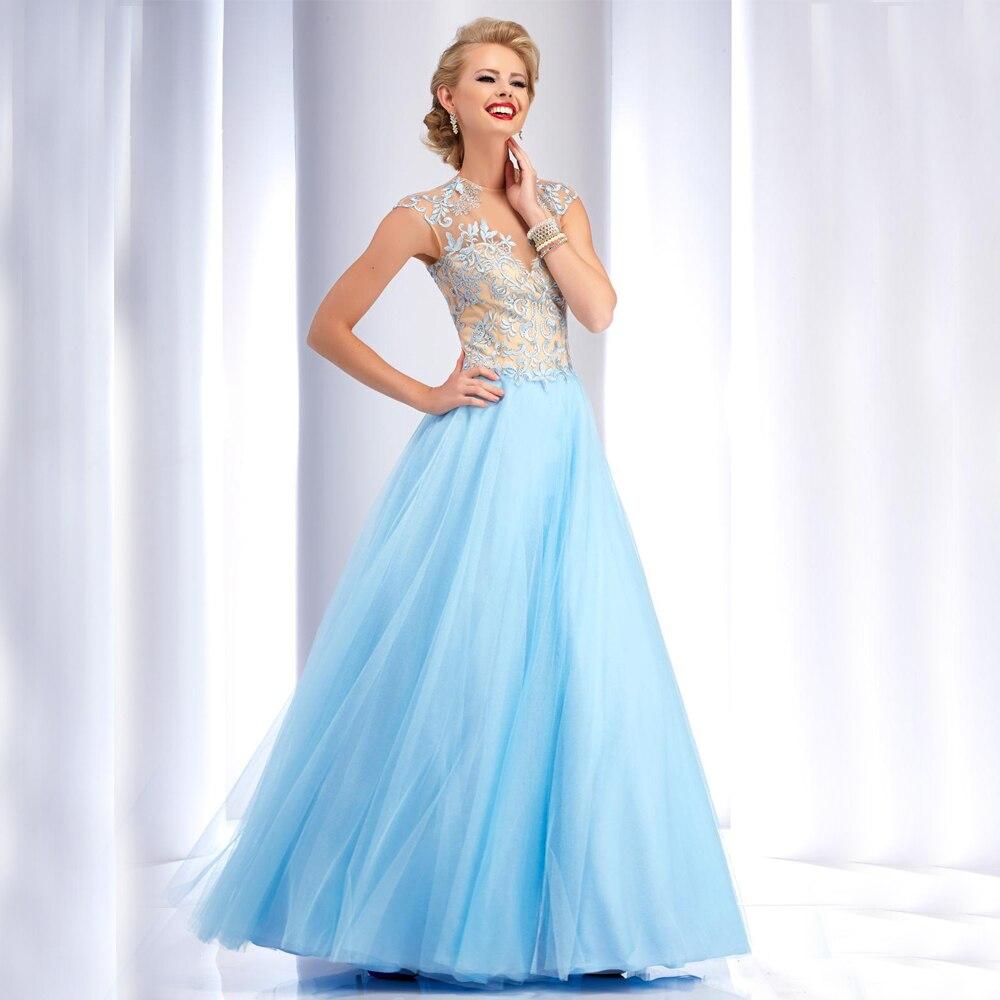 buy Vestido De Fiesta High Neck Sheer Top Open Back Formal Party Dress  Black Light Blue Long Red Prom Dress 2016 6c2fd6d558b1
