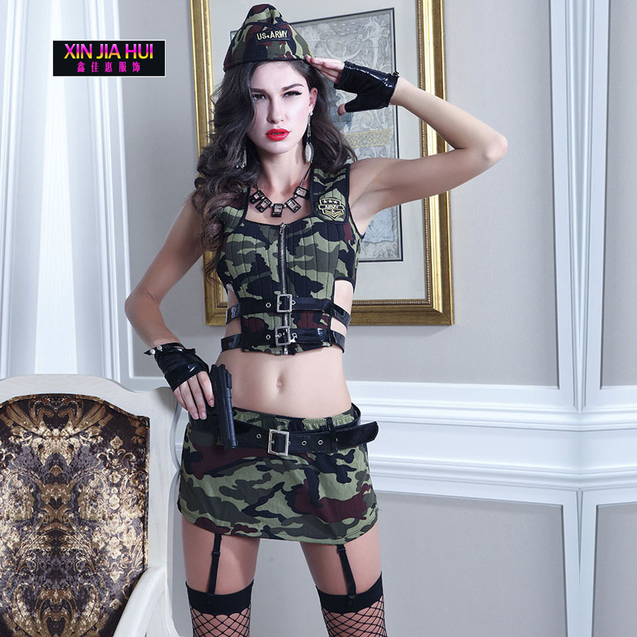 Luxury Ladies Lingerie Army Camouflage Clothing Sets Uniforms Erotic RolePlaying Underwear Female Sex Party Dress Stage Costumes
