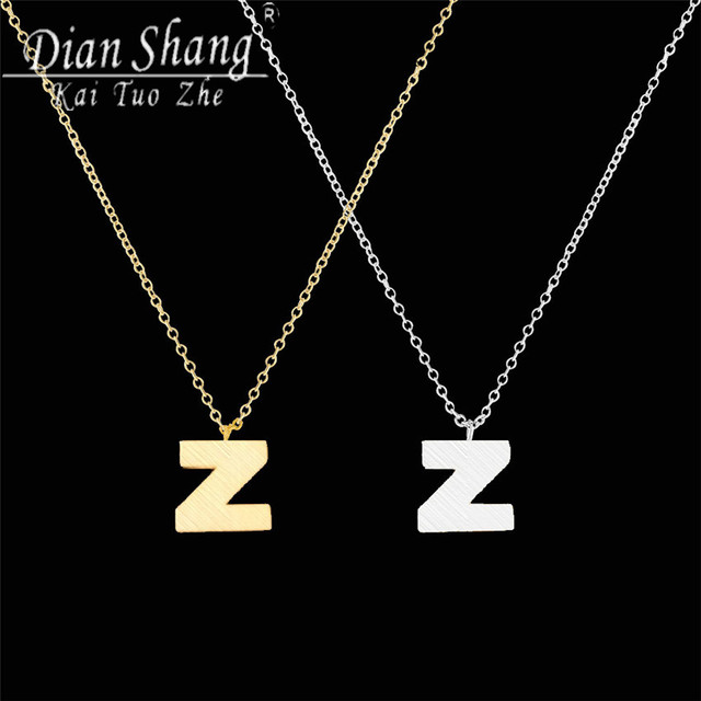 Letter Z Necklace ALP DIANSHANGKAITUOZHE 10PCS Letter Z Choker Necklace Women Chocker 2Colors  Statement Necklace Trendy Necklaces Pendants Collier