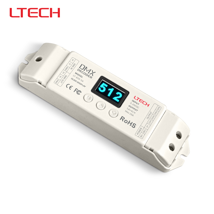 LT-820-5A LED DMX-PWM Led Decoder(8/16 bits optional,OLED Display);5A*4channel output for rgb/rgbw/rgbww led strip/