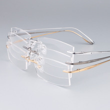 DOWER ME Pure Titanium Optical Eyeglass Business Design Rimless Silver for Men Reading Myopia Eyewear Glasses Frame BR9069