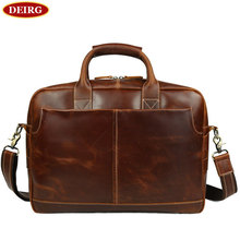 Men Leather Briefcase Retro Natural Cowhide Business Handbag Fit For 16 Inch Laptop Bag Coffee PR561019