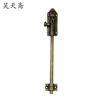 [Haotian vegetarian] Chinese antique copper door door latch bolt copper live classical HTH-123 inserted