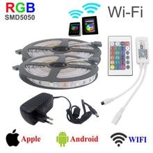 300 Светодиодов 2*5 м/рулон 12 В SMD 5050 RGB led strip Light + светодиодный контроллер wi-fi поддержка системы Android IOS Touchable + 4A питания Адаптер