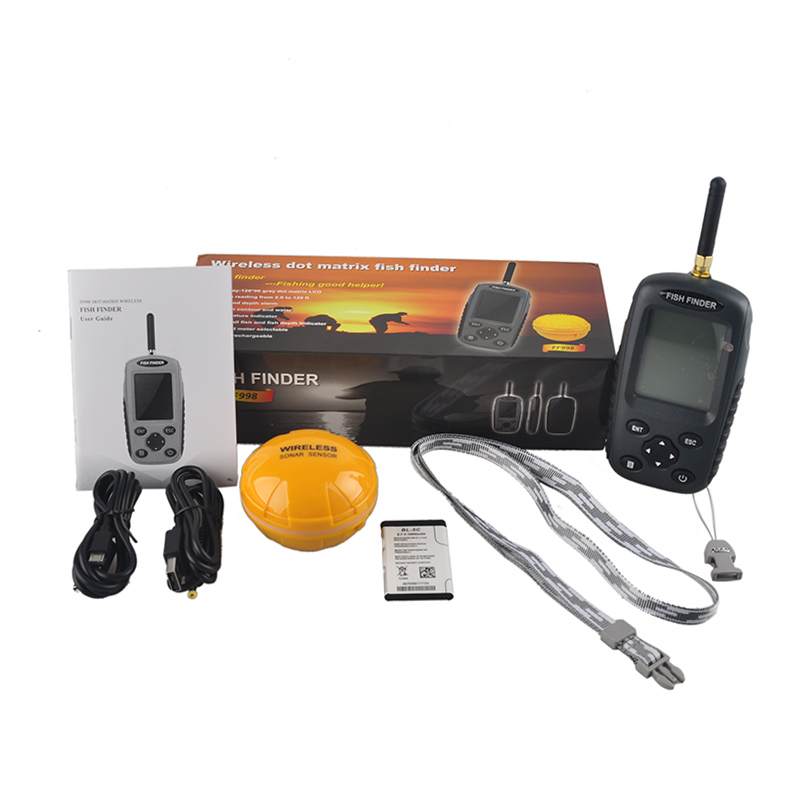 FF998 Portable Fish Finder Sonar Upgrade Wireless Fishfinder Sensor Rechargeable Waterpoof Fishs Alarm 125KHZ Echo Sounder