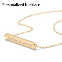 Personalized Engraved Gold Blank Bar Pendant Necklace Stainless Steel Custom Lettering Name Plate Women Letters Jewelry