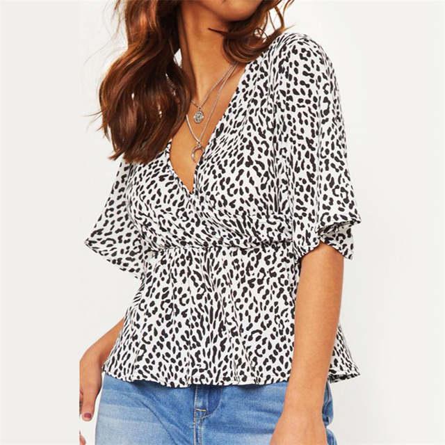 bcb6205deef US $6.88 40% OFF|2019 Sexy Deep V Neck Leopard Print Women Tops Half Sleeve  Blouse Shirt Ladies Elastic High Waist Slim Plus Size Ladies Tops-in ...