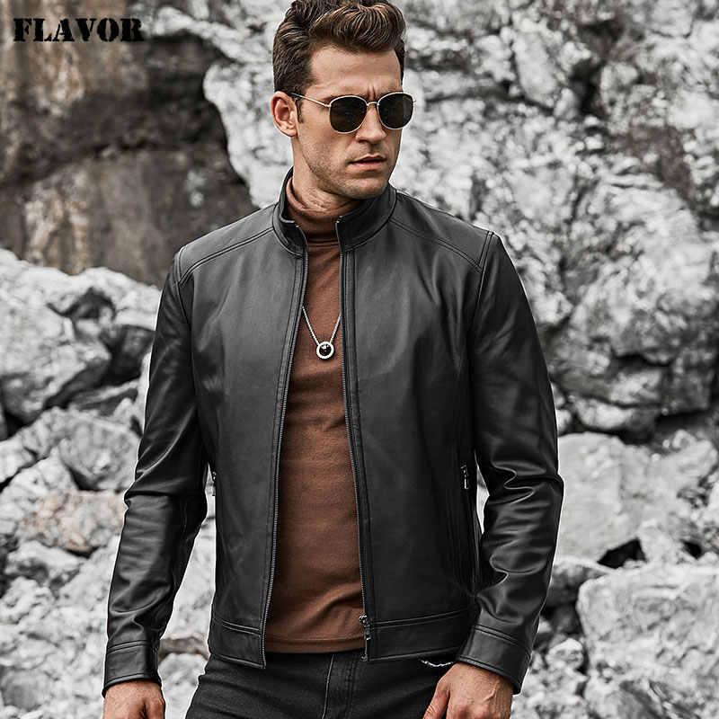 風味男性の本物の革のジャケット男性スリムフィット暖かいコートオートバイラムスキン立襟本革コート