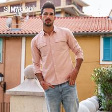 SIMWOOD 2019 New Arrive spring Fashion Slim Shirts Men Casual Cotton Long Sleeve Shirt Vintage Brand