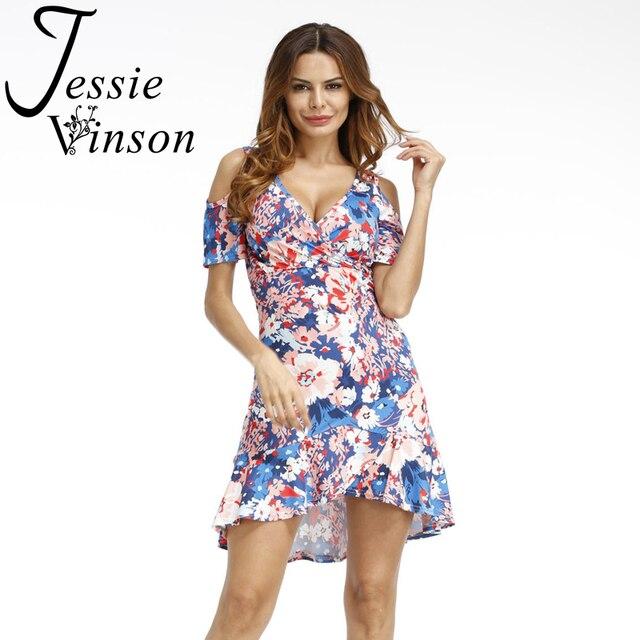 c7c8736a904 Jessie Vinson Fashion Women Tropical Print Deep V-neck Short Sleeve Dress  Off Shoulder Strap Summer Dress Vestido Sexy