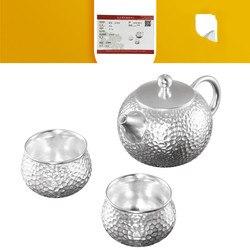 Jogos de chá de prata 999 sterling silver Conjunto de Kung Fu jogos de chá em casa de viagem definido para enviar um presente bonito para a família e os amigos