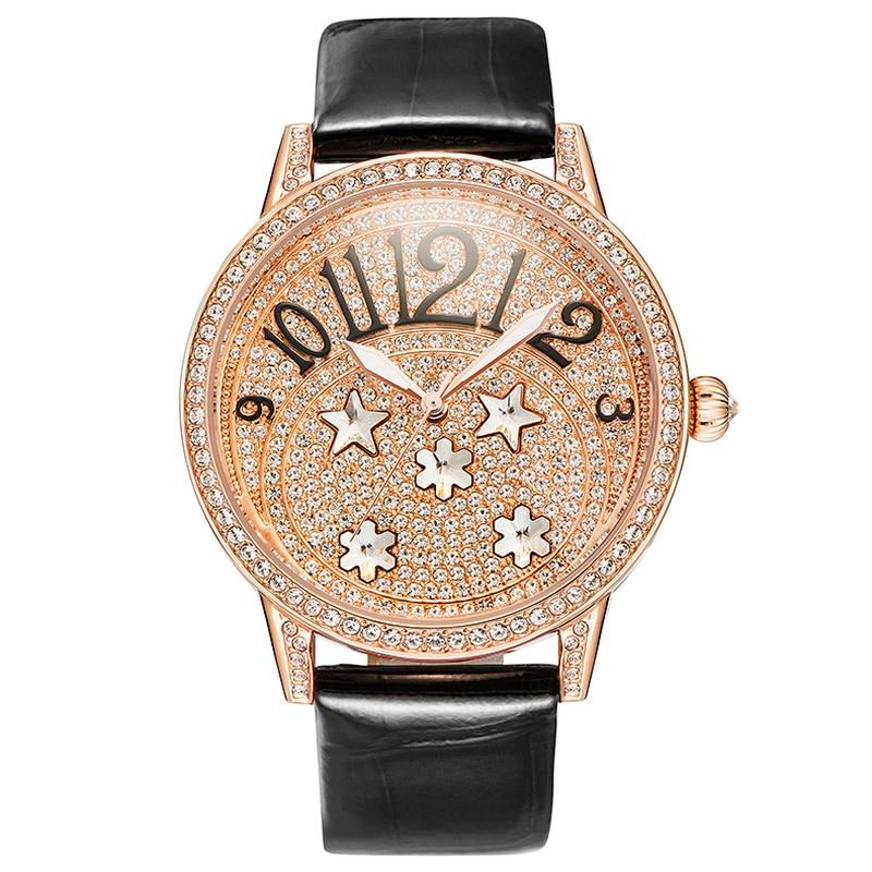 Rose Gold Female Quartz Watches Woman Full Diamond Fashion Watch Ladies Leather Bracelet Waterproof Clock Top Brand Luxury Table цена 2017