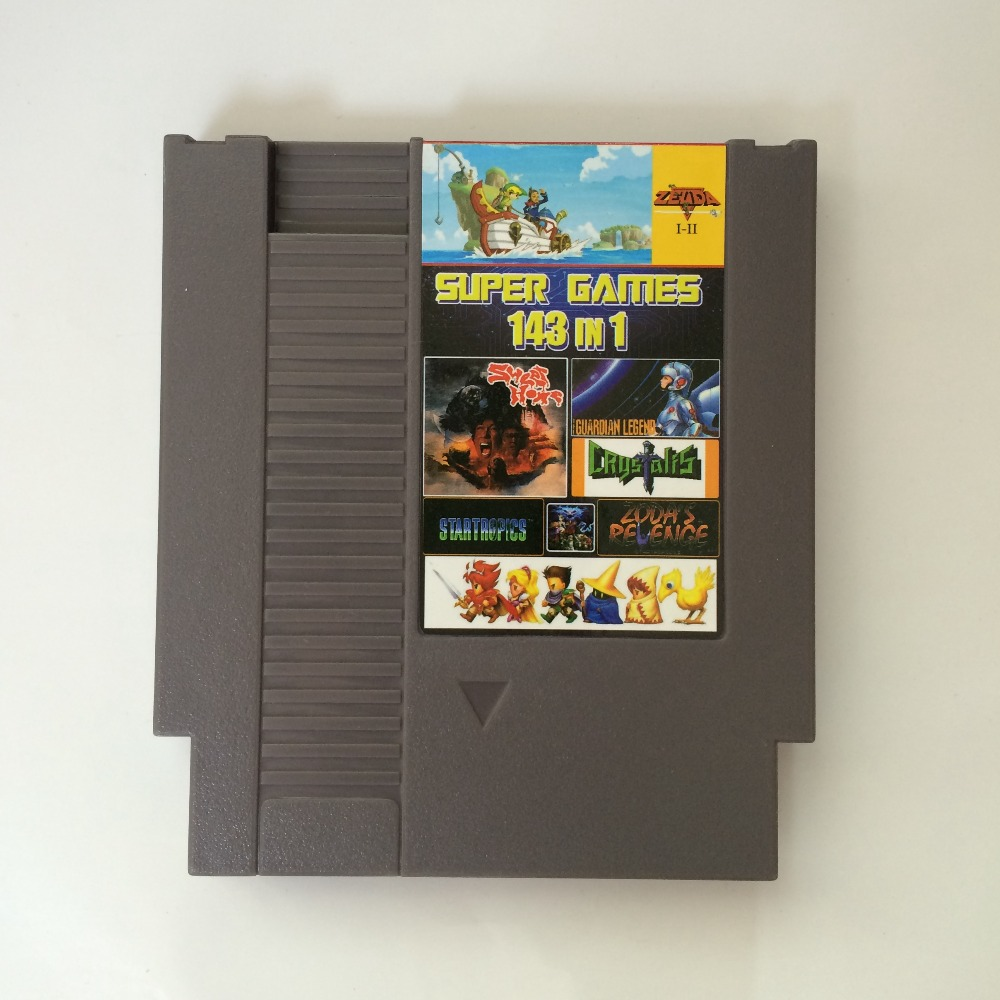 Top Quality Game Cartridge 143 in 1 with game Earthbound Final Fantasy 1 2 3 Kirby's Adventur For 72 Pin 8 Bit Game Player