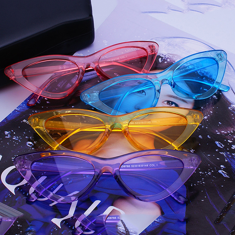 FS YURI YUAN Candy Colors Solglasögon För Kvinnor Kattögon - Kläder tillbehör