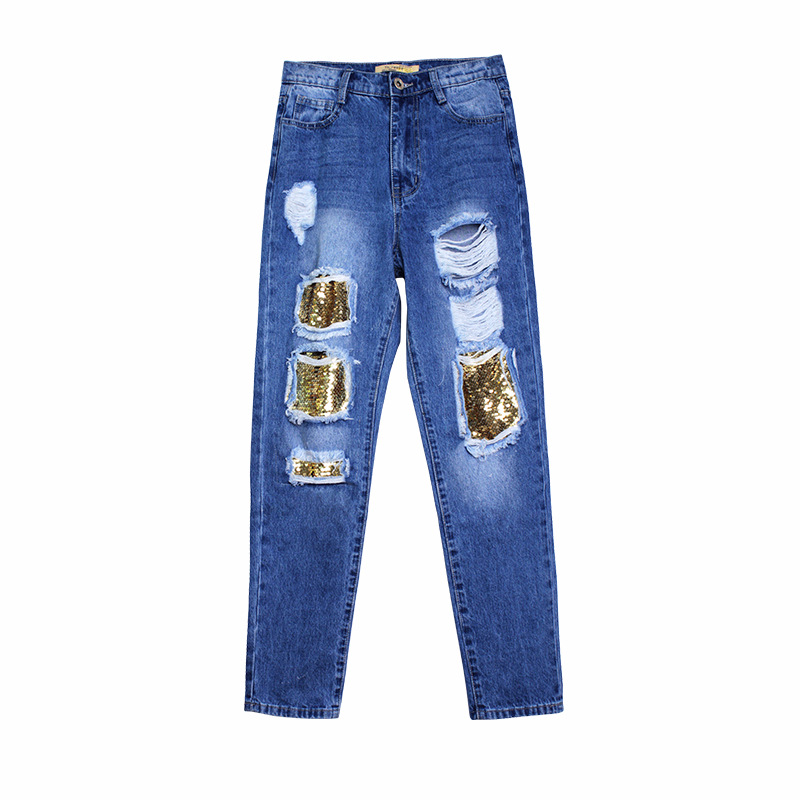 Novio Mujeres Mew Cintura Jeans Distressed Denim Nueva Casuales Ripped Agujero Pantalones Vaqueros Alta Azul Destruidas Slim Moda qSxwpEv