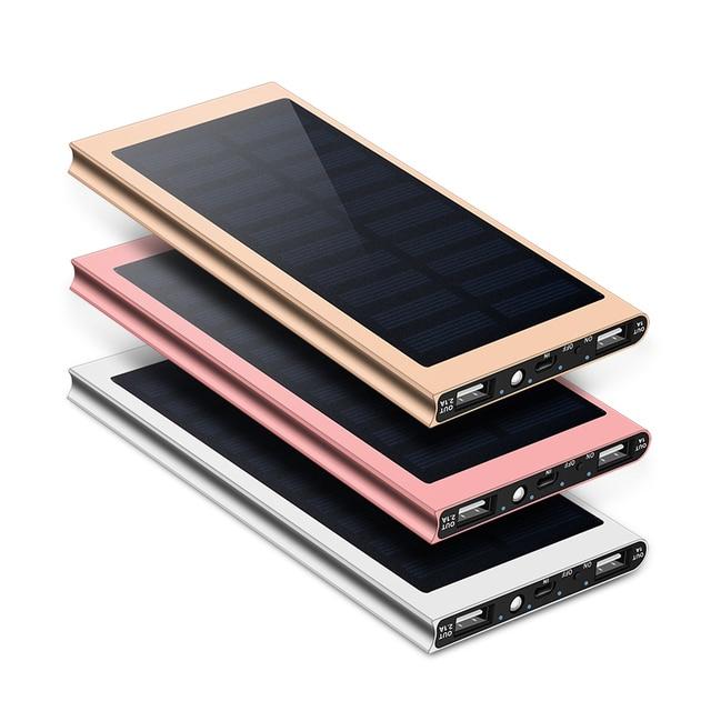 Para Xiaomi Smartphone iPhone 8 XS Max banco de energía Solar impermeable Cargador Solar de 30000 mAh, 2 puertos USB cargador externo powerbank